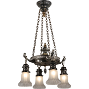 Egyptian Revival Chandelier with Shades, Pharaohs