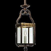 Antique Brass Gas Lantern, Beveled Glass