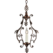Art Deco Pendant Light in Bronze, Antique Lighting