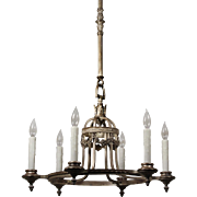Antique Neoclassical Silver Plated Chandelier, Early 1900s