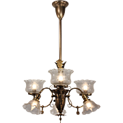 Antique Gas & Electric Chandelier, Late 19th Century