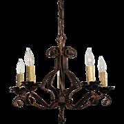 Antique Five Light Iron Chandelier