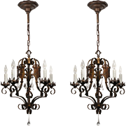 Spanish Revival Chandeliers with Teardrop Prisms, Antique Lighting