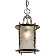 Colonial Revival Lantern with Hand Cut Glass Shade, Antique Lighting