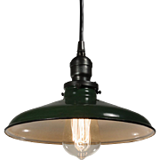 Antique Industrial Pendant Light with Green Enamel & Porcelain Shade