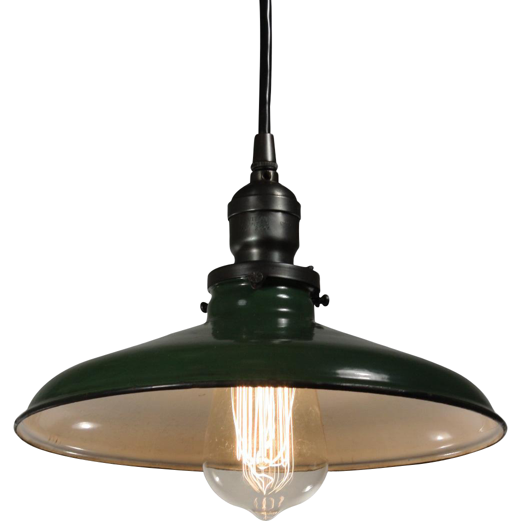 Found In Ithaca Vintage Green Enamel Shop Light: Antique Industrial Pendant Light With Green Enamel