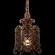 Antique Iron Pendant Light, Original Polychrome