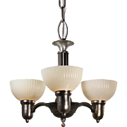 Art Deco Chandelier with Original Sit-In Shades, Antique Lighting