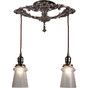 Antique Semi Flush-Mount Chandelier with Opalescent Shades