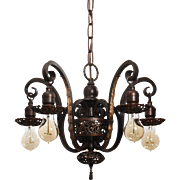 Spanish Revival Chandelier in Cast Iron, Antique Lighting