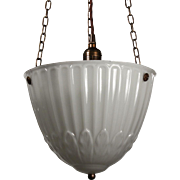 Antique Inverted Dome Pendant Lights, Early 1900s