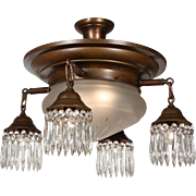 Antique Colonial Revival Semi-Flush Chandelier, Hand-Cut Shade