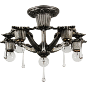 Antique Neoclassical Semi-Flush Chandelier with Prisms by Riddle