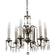 Antique Silver Plated Chandelier with Prisms, c.1910