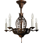 Antique Semi Flush Chandelier, Early 1900s