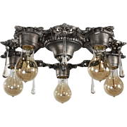 Antique Neoclassical Flush Mount Chandelier with Prisms