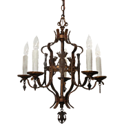 Antique Iron Spanish Revival Five-Light Chandelier with Shields