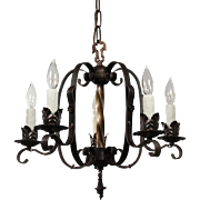 Tudor Wrought Iron Chandelier, Antique Lighting