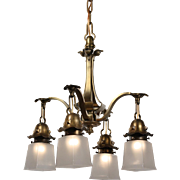 Arts & Crafts Brass Chandelier, Antique Lighting