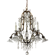 Substantial Antique Bronze Chandelier with Crystal Prisms