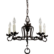 Tudor Chandelier in Wrought Iron, Antique Lighting