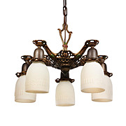 Antique Neoclassical Chandelier with Original Polychrome