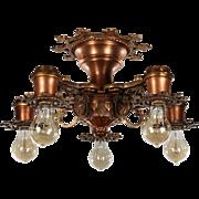 Tudor Semi-Flush Mount Bronze Chandelier, Antique Lighting
