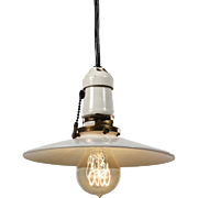 Industrial Pendant Light with Milk Glass Shade, Antique Lighting