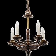 Antique Tudor Chandelier in Bronze, Early 1900s