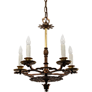 Antique Tudor Chandelier in Bronze, Early 1900s