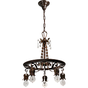 Tudor Hand-Wrought Iron Chandelier with Prisms, Antique Lighting