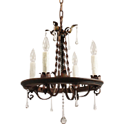 Tudor Wrought Iron Chandelier with Teardrop Prisms, Antique Lighting