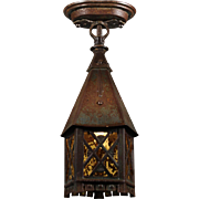 Tudor Semi-Flush Lantern, Antique Lighting
