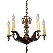 Neoclassical Five Light Chandelier, Antique Lighting