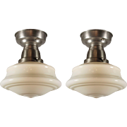 Antique Schoolhouse Flush-Mount Lights, Flash Glass Shades