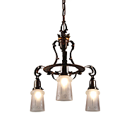 Antique Neoclassical Chandelier, Wheel Cut Shades