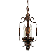 Spanish Revival Pendant Light in Iron, Antique Lighting