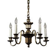 Colonial Revival Silver Plated Chandelier, Antique Lighting