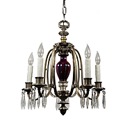 Neoclassical Chandelier in Pewter with Prisms, Antique Lighting