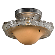Art Deco Flush Mount with Original Glass Shade, Antique Lighting