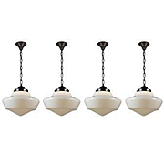 Antique Schoolhouse Pendant Lights with Original Shades