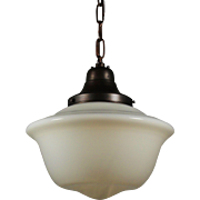 Antique Schoolhouse Pendant Light with Original Shade