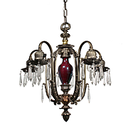 Antique Neoclassical Chandelier by Empire, Pewter