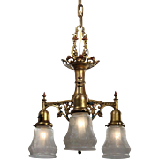Neoclassical Chandelier with Opalescent Shades, Antique Lighting