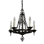 Antique Tudor Chandelier in Cast Iron by Virden