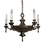 Antique Two Tone Neoclassical Chandelier, c.1920