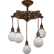Neoclassical Semi Flush-Mount Chandelier with Ball Shades, Antique Lighting