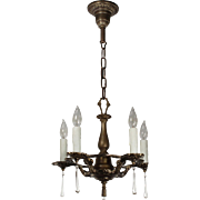 Neoclassical Chandelier with Teardrop Prisms, Antique Lighting