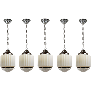"Antique Art Deco Skyscraper Pendant Lights with Two-Part Prismatic Shades, 10"" Wide"
