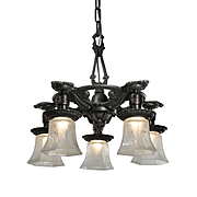 Antique Neoclassical Chandelier with Acid-Etched Shades, Riddle